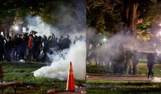 وائٹ ہاؤس کے باہر مظاہرین پر آنسو گیس کا استعمال