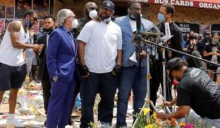 جارج فلائیڈ کے بھائی کا قتل کی جگہ کا دورہ، دعائیہ تقریب