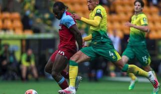 انگلش پریمیئر لیگ: ویسٹ ہام نے ناروچ سٹی کو 0-4 سے ہرادیا