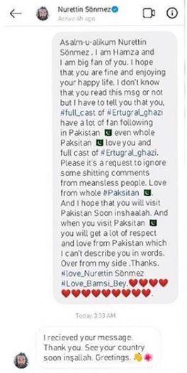 ارطغرل غازی کے بامسی کا پاکستانی مداح کو جواب