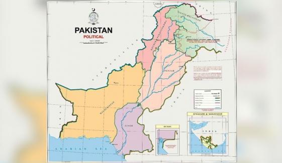 نئے نقشے میں مقبوضہ کشمیر پاکستان کا حصہ