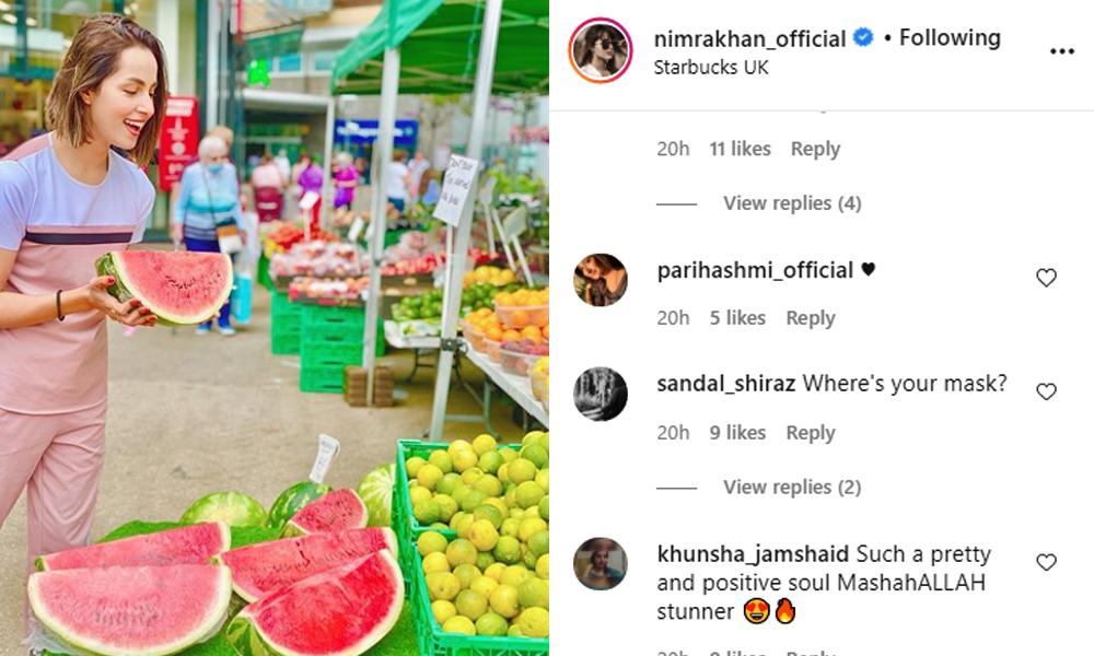 نمرہ خان پر ماسک نہ پہننے پر تنقید کی زد میں