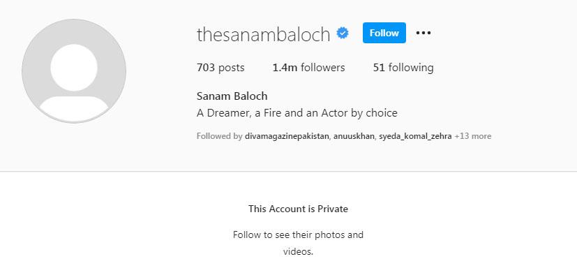صنم بلوچ نے اپنا انسٹاگرام اکاؤنٹ پرائیوٹ کردیا