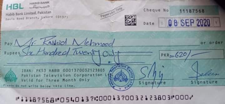 سینئر اداکار راشد محمود کو 620 روپے کا چیک دینے پر شمعون عباسی سرکاری ٹی وی پر برہم