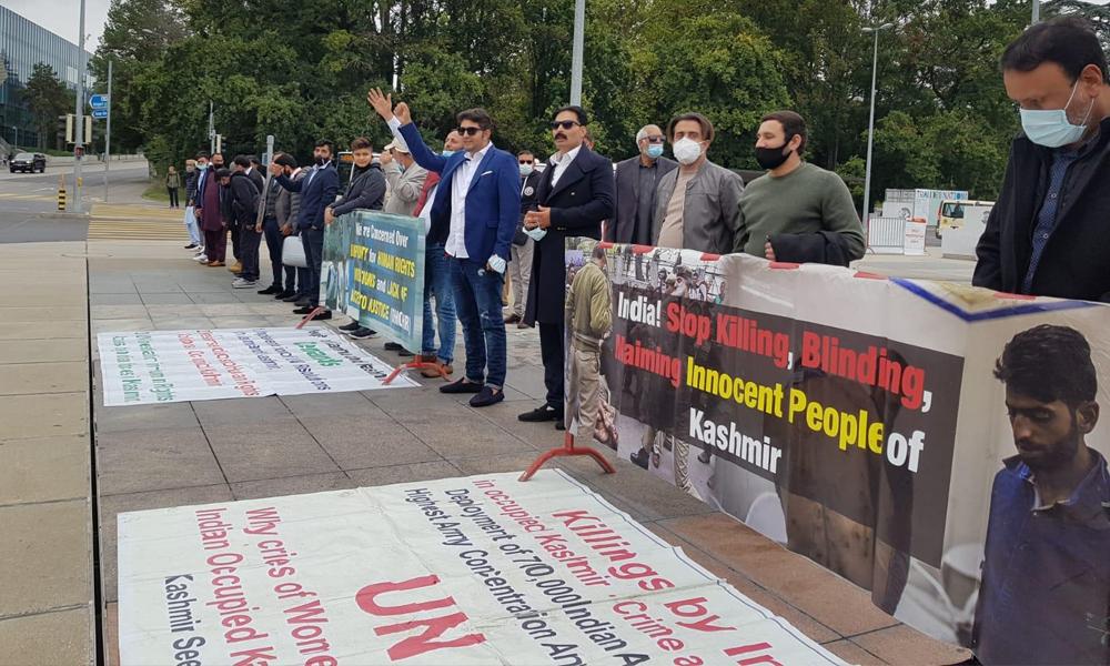 جینوا، بھارت کے خلاف احتجاجی مظاہرے جاری