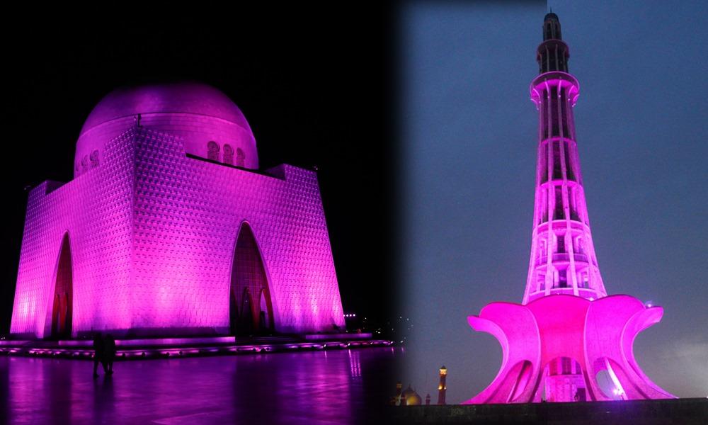 اہم حکومتی عمارات گلابی رنگ میں رنگ گئیں