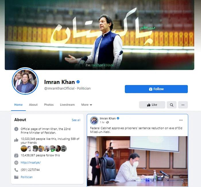 عمران خان کے فیس بُک پر 10ملین سے زائد فالوورز
