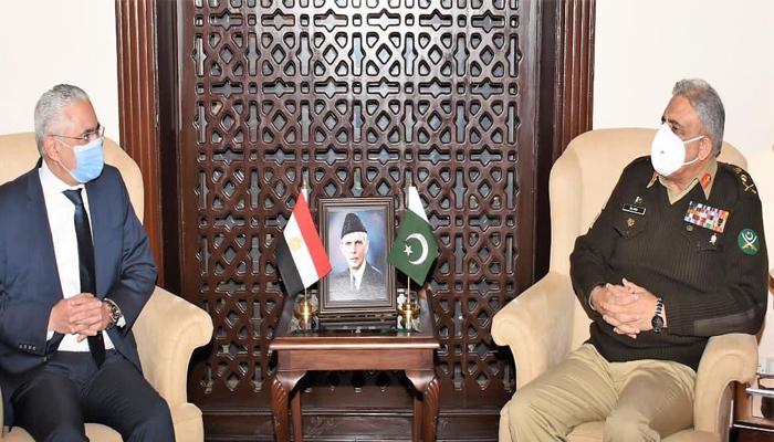 آرمی  چیف جنرل قمر جاوید باجوہ سے مصری سفیر طارق محمددخروج کی ملاقات