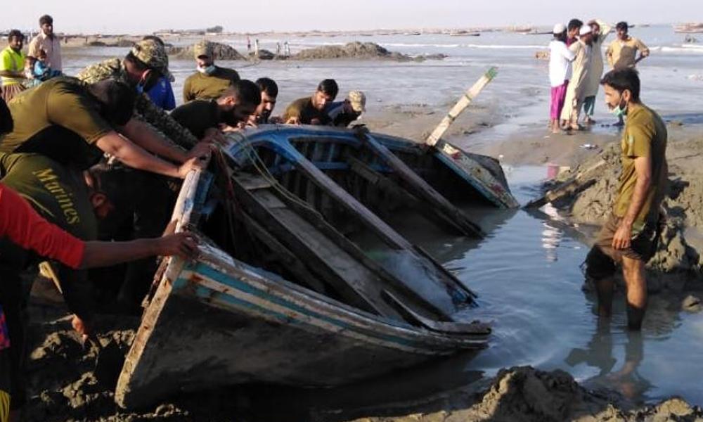 پاکستان بحری، اورماڑہ ساحل پر پھنسی کشتیوں کیلئے امداد فراہم