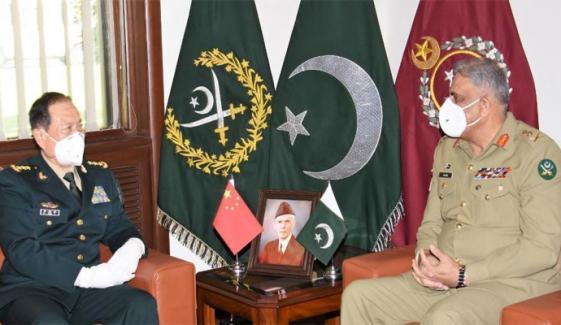 آرمی چیف سے چینی وزیر قومی دفاع کی ملاقات، دفاعی اشتراک بڑھانے پر گفتگو