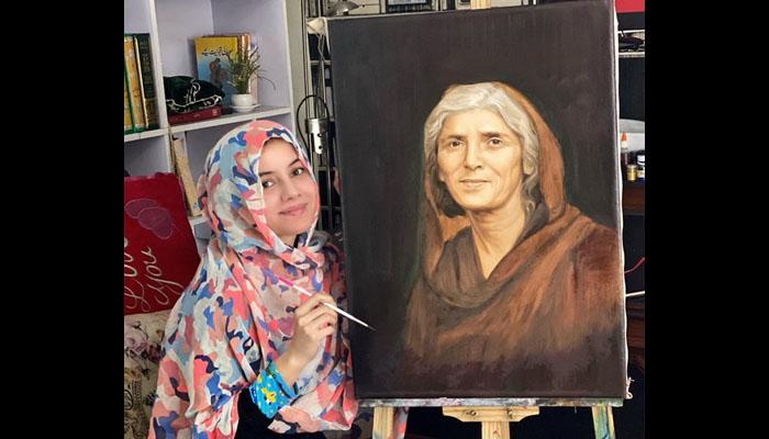 رابی پیرزادہ نے مادرِ ملت فاطمہ جناح کی پینٹنگ بنالی