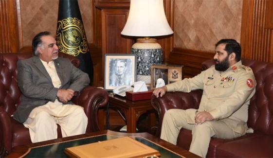 کور کمانڈر کراچی کی گورنر سندھ سے الوداعی ملاقات