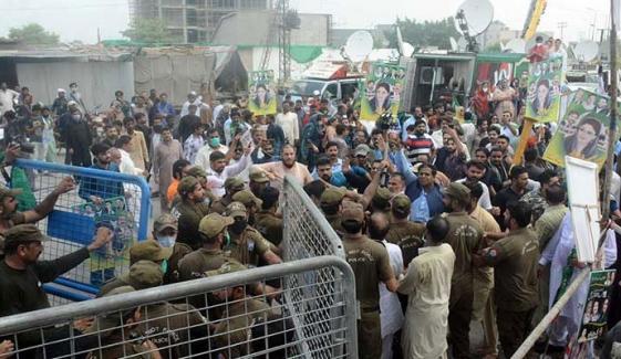 فیصل آباد پولیس کی مسلم لیگ ن کے کارکنوں کو روکنے کی کوشش