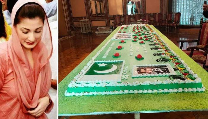 مریم نواز ، والد کی سالگرہ کا طویل کیک پاکر خوش ہوگئیں