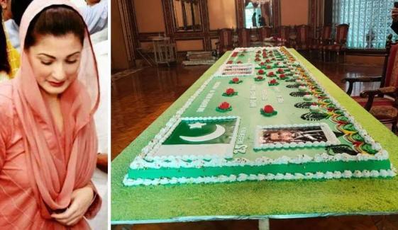 بھاری بھرکم کیک نے مریم نواز کو مشکل میں ڈال دیا