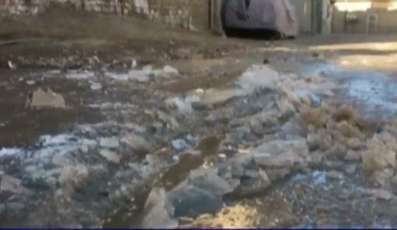 کوئٹہ: سڑکوں اور گلیوں میں پانی برف بن گیا