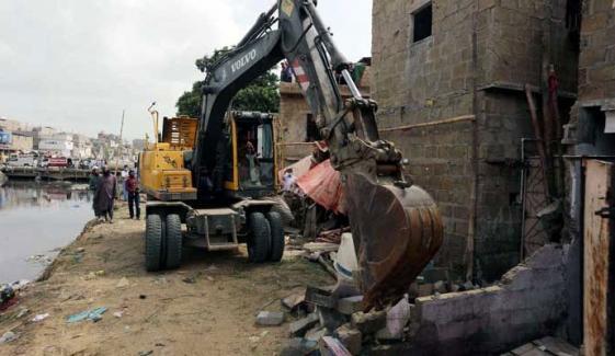 کراچی: گجر نالے پر تجاوزات آپریشن کا دوسرا روز