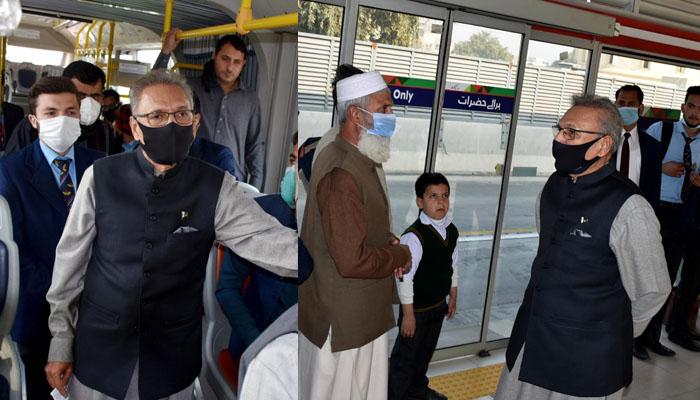 عارف علوی کا بی آر ٹی پشاور میں سفر، سیلفیاں بھی بنوائیں