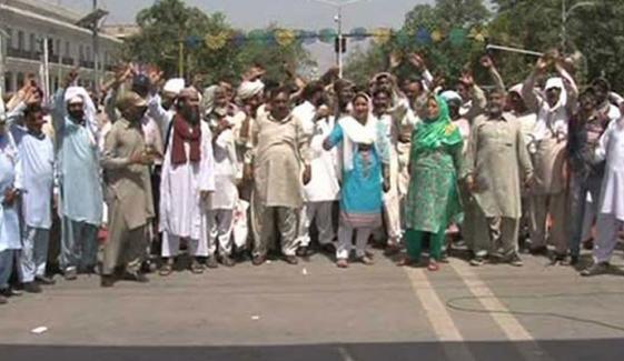 لاہور، اسکول کی اراضی پر قبضے کیخلاف احتجاج