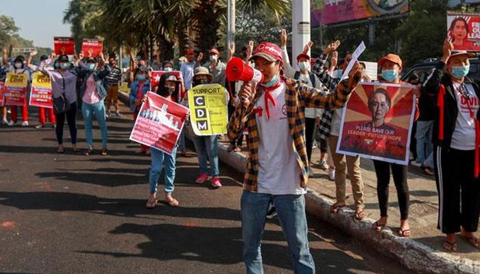 ینگون: ہزاروں مظاہرین کافوجی بغاوت کیخلاف مارچ