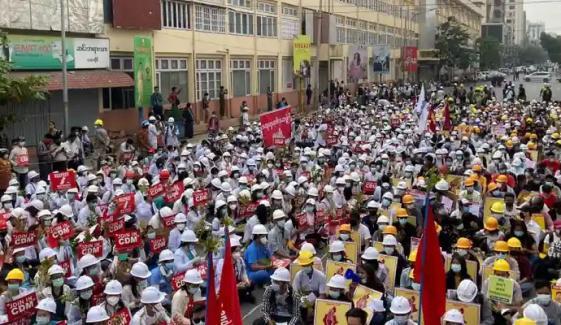 میانمار، سیکورٹی فورسز نے مظاہروں کو روکنے کیلئے سڑکیں بلاک کردیں