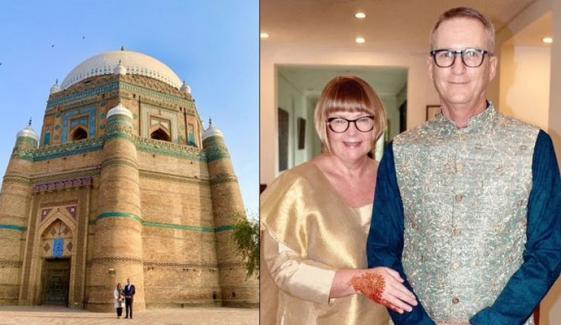 آسٹریلوی ہائی کمشنر پاکستان کی اہلیہ کے ہمراہ شاہ رکن عالم کے مقبرے پر حاضری