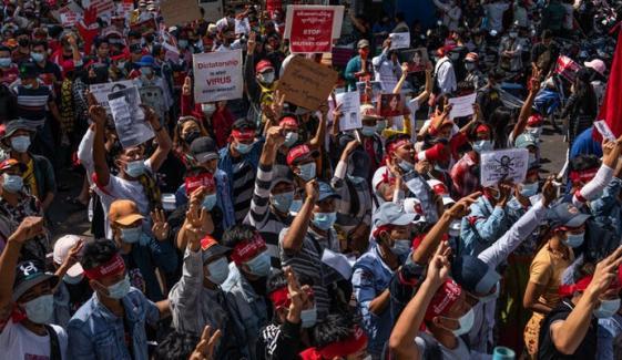 میانمار میں احتجاج جاری، یکم فروری سے اب تک 21 افراد ہلاک