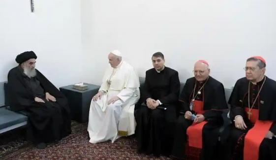 پوپ فرانسس آیت اللہ سیستانی سے ملاقات کیلئے نجف پہنچ گئے