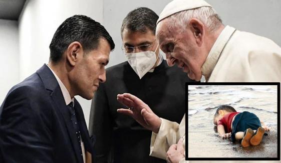 پوپ فرانسس کی ننھے ایلان کردی کے والد سے ملاقات