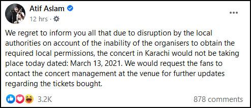 عاطف اسلم کا کراچی میں ہونے والا کنسرٹ ملتوی