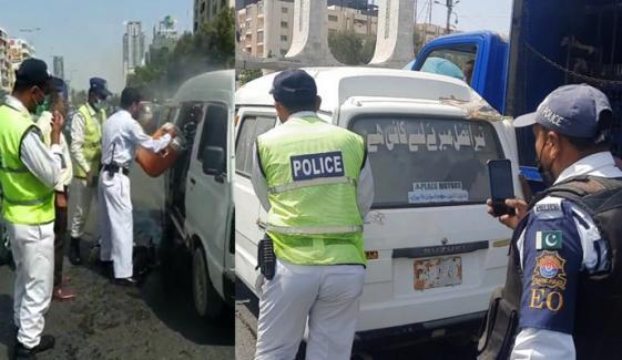 کلفٹن، گاڑی کی آگ بجھانے والے 4 پولیس اہکاروں کیلئے انعام کا اعلان