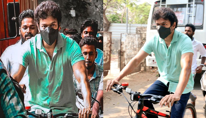 الیکشن کے دوران وجے ووٹ ڈالنے سائیکل پر پہنچے