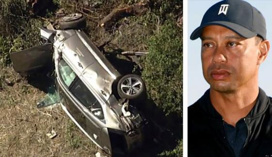 ٹائیگر ووڈز کی گاڑی کا تیز رفتاری کے باعث حادثہ ہوا، رپورٹ