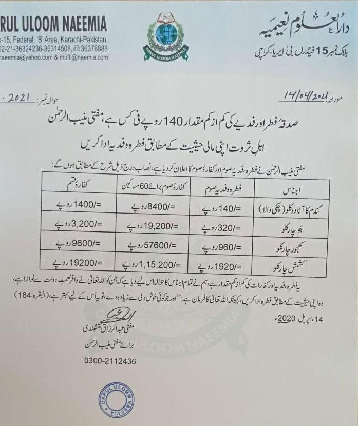 صدقۂ فطر، فدیے کی کم از کم رقم 140 روپے فی کس مقرر