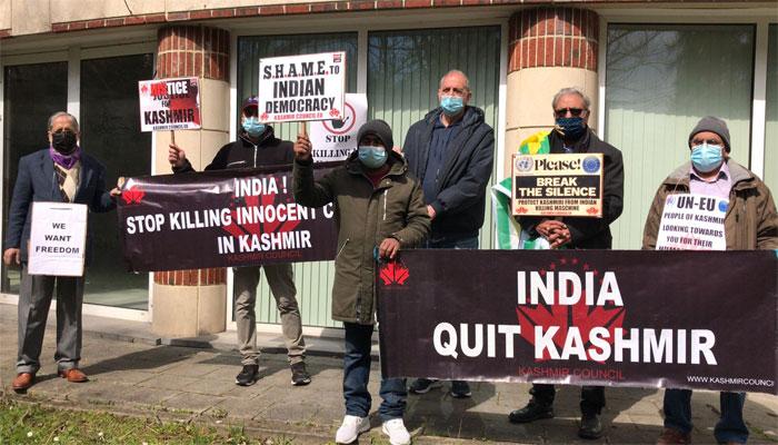 برسلز میں کشمیرکونسل ای یو کے تحت بھارتی مظالم کے خلاف مظاہرہ