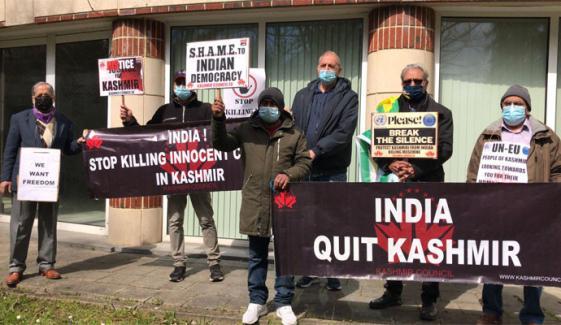 برسلز میں کشمیر کونسل ای یو کے تحت بھارتی مظالم کے خلاف مظاہرہ