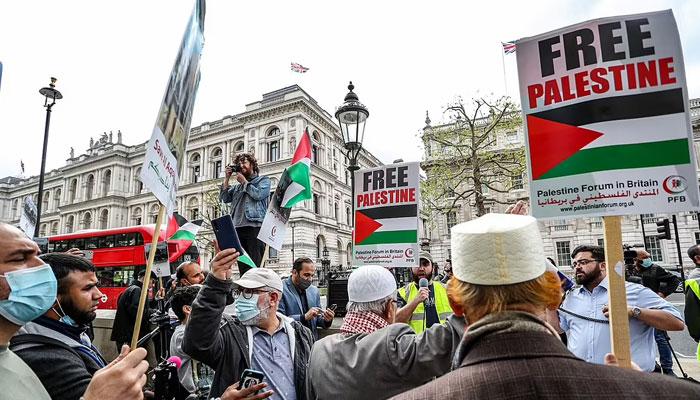 فلسطینیوں پر اسرائیلی مظالم کیخلاف لندن اور مانچسٹر میں مظاہرے