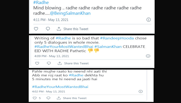 سلمان خان کی فلم 'رادھے' پر شائقین کا ردعمل