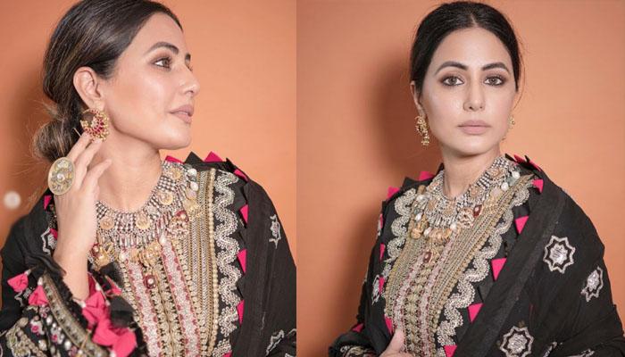 حنا خان نے عید پر پاکستانی ڈیزائنر کا لباس زیب تن کیا؟