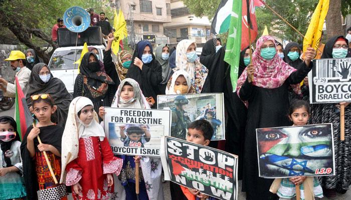 فلسطین پر اسرائیلی حملوں کے خلاف مختلف شہروں میں ریلیاں