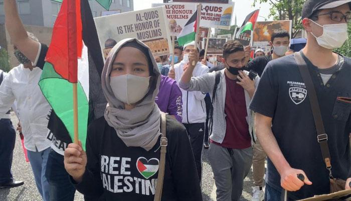 ٹوکیو: اسرائیلی سفارتخانے کے سامنے مسلم کمیونٹی کا احتجاج