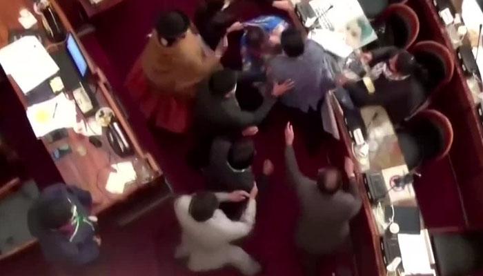 بولیویا کی پارلیمنٹ میں ارکان آپس میں لڑ پڑے