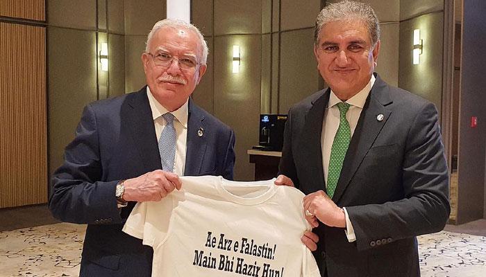 شاہ محمود قریشی کی ترکی میں فلسطینی وزیر خارجہ سے ملاقات