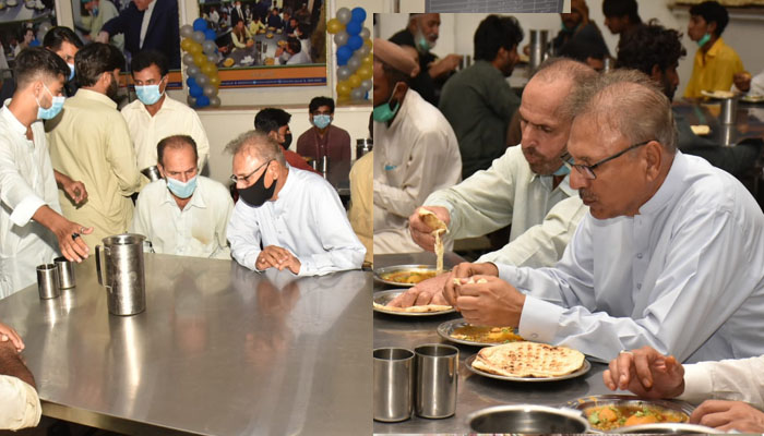 صدر عارف علوی کا کورنگی کی پناہ گاہ کادورہ، کھانا بھی کھایا