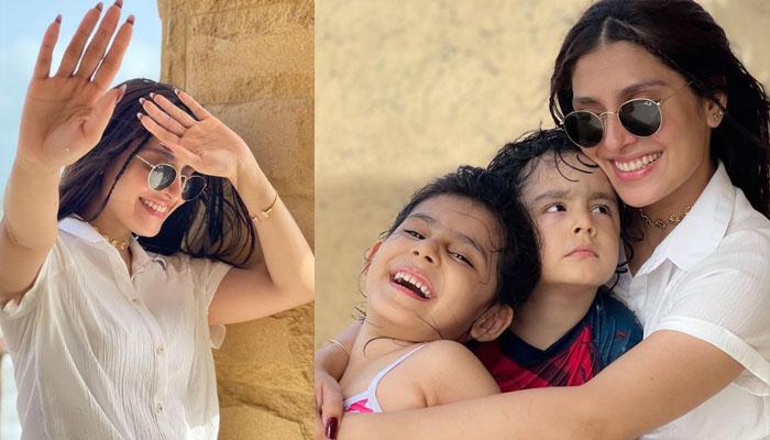 عائزہ خان کے فیملی کے ہمراہ ساحل سمندر پر سیر سپاٹے