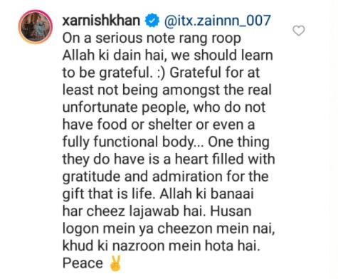 زرنش خان نے رنگت پر تبصرہ کرنیوالے صارف کو کھری کھری سنادیں