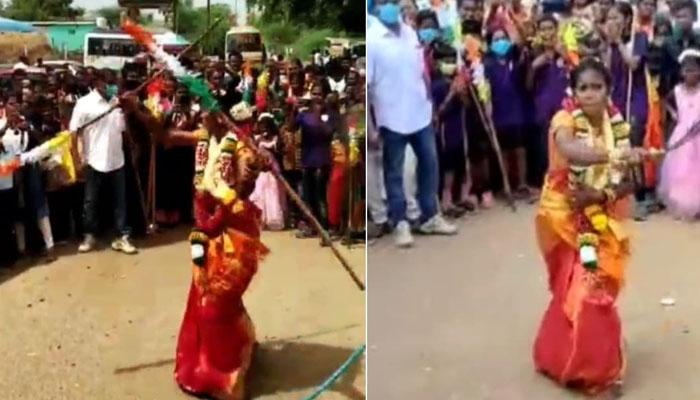 بھارت، دلہن کا اپنی شادی پر مارشل آرٹس کا مظاہرہ