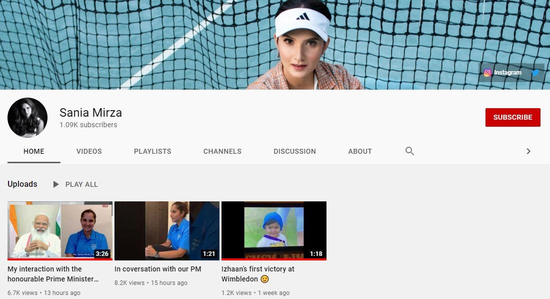 ثانیہ مرزا نے اپنا یوٹیوب چینل بنالیا