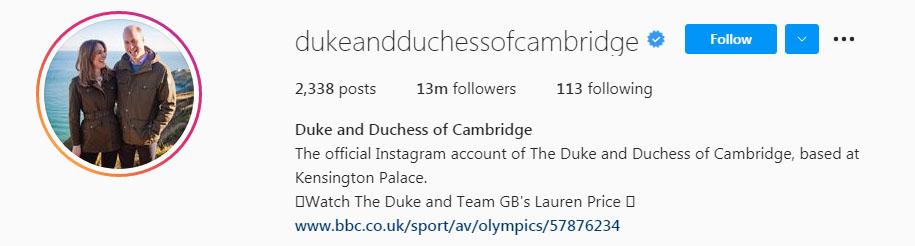 شہزادہ ولیم اور کیٹ انسٹاگرام پر چھا گئے