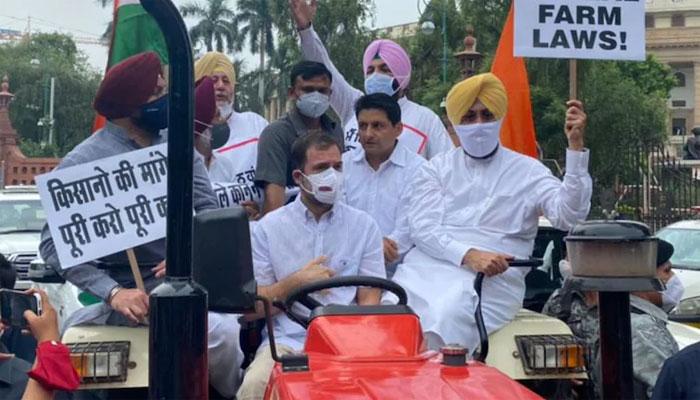 بھارت: اپوزيشن اور کسان رہنماؤں کی مزاحمت جاری، راہول گاندھی ٹریکٹر چلا کر پارلیمنٹ پہنچے